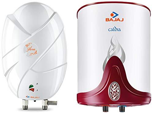 Bajaj Flora Instant 3 Litre Vertical Water Heater, White & Caldia Storage 10 Litre Vertical Water Heater, White, 4 Star Combo