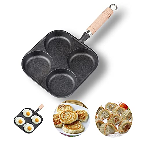 NEWANOVI Heavy Duty Cast Iron Egg Frying Pan, Non-Stick Frying Pan with 4 Hole Pancake Pan Fried Egg Burger Pan, Compatible with All Heat Sources