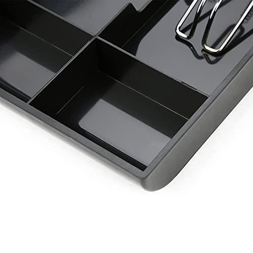Caja de almacenamiento de dinero con bandeja de inserción de caja registradora de plástico ABS 3 billetes 3 monedas con clip de metal (negro)