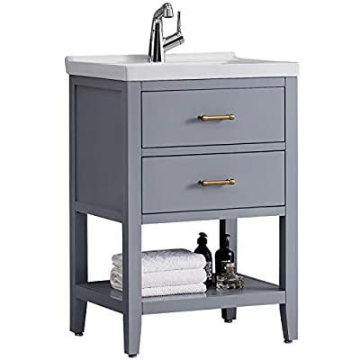 F&R 24 Inch Bathroom Vanity and Sink Combo with Storage, Gray Bathroom Vanity 24 Inch Modern Bathroom Sink & Vanity, Small Bathroom Vanity with Sink(Mirror Not Included)