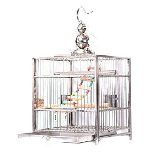 ZJDK Jaula de pájaros Tipo de cajón Jaula de pájaros de Acero Inoxidable Jaula de pájaros de Perla de Loro Desmontable Creativa Jaula de Loros (Color: Versión Mejorada, Tamaño: L)