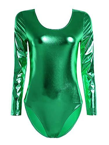 Maillot de Danza Ballet Gimnasia Leotardo Body Clásico Brillante Elástico para Mujer de Manga Larga Cuello Redondo (XXL, Verde)