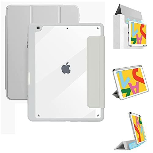 Tasnme Funda para iPad Air3 de 10,2 pulgadas, parte trasera y cubierta delantera desmontable, para dormir y desactivar juegos iPad Air 3 10,2 iPad funda gris