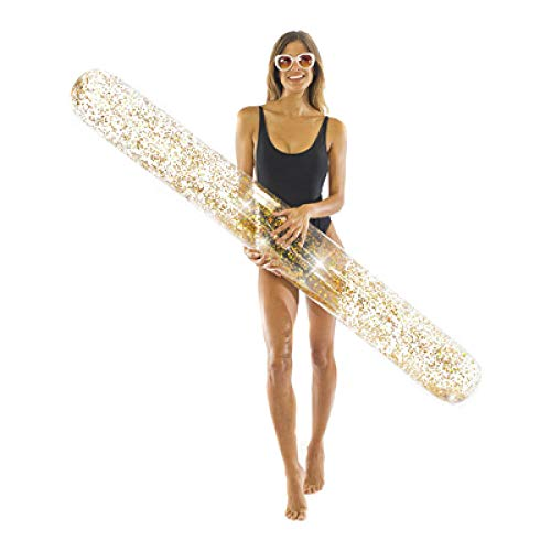 Giant Glitter Super Noodle 2020 Summer Pool Float Materasso ad Aria Water Party Giocattoli gonfiabili per Adulti Kids-Gold_180 * 15cm