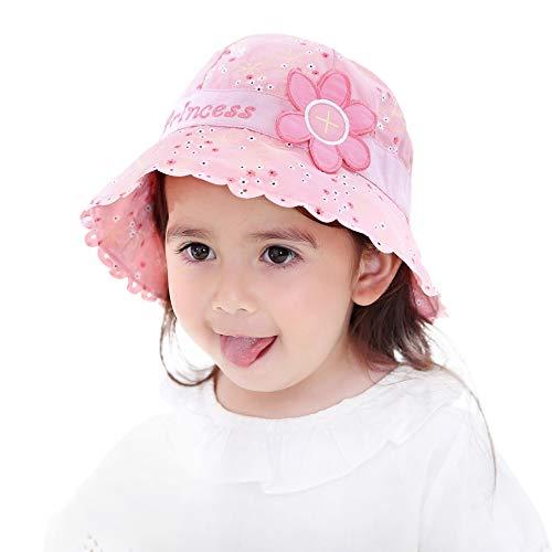 ANIMQUE Mädchen Sonnenhut Prinzessin Rosa Süß Baby Eimerhut Baumwolle UV Schutz Sommer Hut Kinderhut 3-5 Jahre, Kopfumfang 53cm XXL