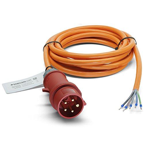 ENECEN 1513405 CEE-Anschlusskabel 400V/16A IP44 PUR H07BQ-F 5x2,5 mm² mit Stecker/freies Ende 5-polig 5m