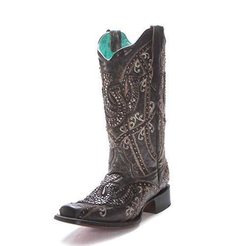 CORRAL Women's Horseshoe Overlay Western Boot Square Toe Black 10 M