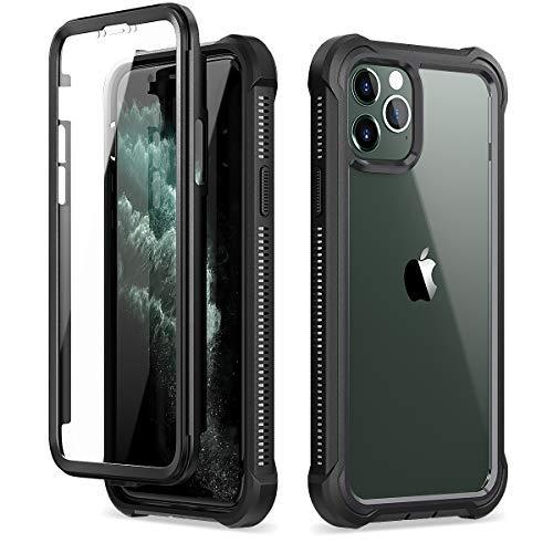 Dexnor Coque Compatible avec Iphone 12 et pour Iphone 12 Pro 6,1'', 360 degrés Coque de Protection Avant et arrière Antichoc complète avec Protecteur d'écran intégré - Noir