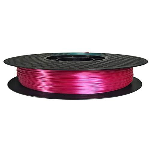 HH-DYHC, 1 filamento para impresora 3D de seda Pla de 1,75 mm 0,5 kg brillo dorado sedoso 500 g 3d pluma filamento de impresión rico brillo metal material metálico (color: seda rosa rojo)