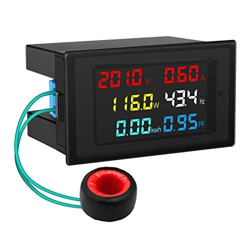 ZHITING AC Display Meter, 80-300V 100A Tensione Corrente Fattore di potenza Frequenza Monitoraggio energia elettrica Multimetro Tester 110V 220V LCD a colori digitale Volt Amp Watt Pannello lettore