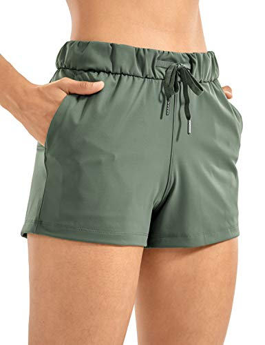"CRZ YOGA Women's Stretch Lightweight Athletic Shorts Elastic Waist Drawstring Travel Workout Shorts with Pockets - 2.5""/3.5"" Grey Sage_2.5'' Medium"