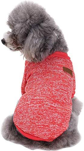 Ducomi Classic - Felpa con Puños y Cuello Elásticos en Suave Vellón de Algodón para Perros y Gatos - Protege del Frío en Invierno (Red, XS)