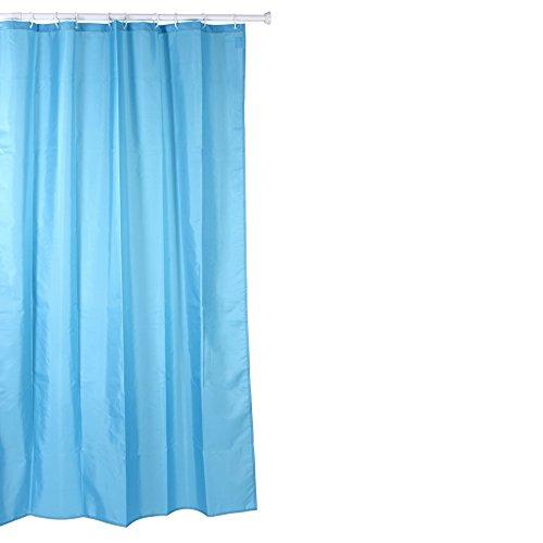 Tatay Cortina de baño de Polyester hidrofugado, Lavable, Evita la Humedad, en Color Azul Acabado Satinado. Incluye Anillas