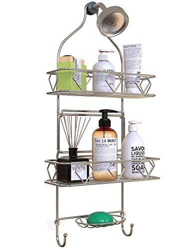 Upgraded! GeekDigg Bathroom Hanging Shower Head Caddy Organizer, Three Tier, Rust Proof Premium Hanger Design With Suction Cups, Hooks, Bath Room Caddies Hang on Showers Head, Shower Organizer, Silver