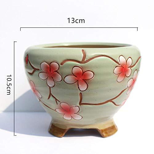 Handgeschilderd aardewerk bloempot creatieve vliegende schotel keramische pot grote diameter groep pot met voeten ademende oude stapel pot Flying saucer-green