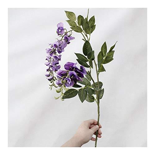 JiaQinHe Restos 100cm 2 Cabezas Artificiales Wisteria Pea Blossom Flores de otoño Violeta Flores Flores Falso decoración de la Boda de la Hoja del Partido Inicio Nunca (Color : Violet)