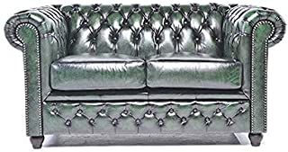 Original Chesterfield Sofa - 2 Seater - Full Real Hand Washed Leather - Antique Green