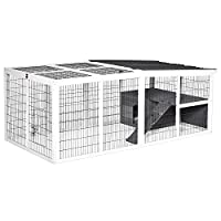 SUITABEL FOR 2-4 RABBITS: The indoor and outdoor rabbit house is a perfect home and natural habitat for your little family members! Featuring spacious living space and large running area, it provides ample space for your pet to rest, play and exercis...