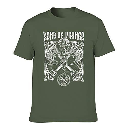 Cómoda camiseta para hombre con gráficos vikingos Odin Guerrero Vegvisir nudos celtas impresión creativa 3D camisas verde militar XXXXL