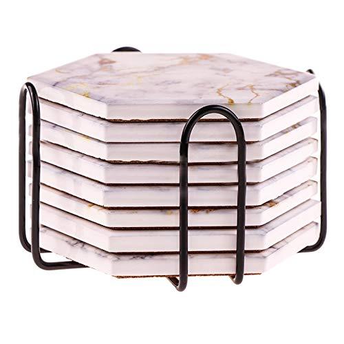 yaunli Coaster 8 PC Posavasos para Bebidas Absorbente con Titular Piedra de cerámica Bebida Posavasos con Base de Corcho Base de coastro Absorbente Costero Absorbente (Color : Pink, Size : 11x9.5 cm)