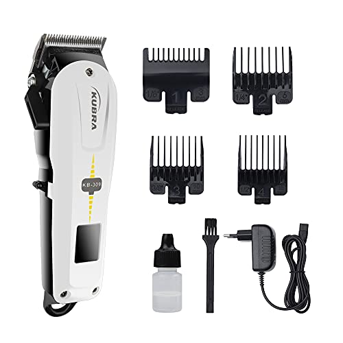 Kubra KB-309 Professional Cordless Rechargeable LED Display Hair Clipper Heavy Duty for Hair and Beard Cut (White)