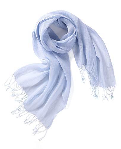 prettystern bufanda de lino lisa unisex 100% foulard hombres y mujeres primavera verano con flecos T13 azul claro