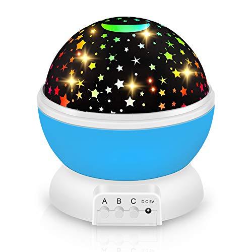 Lampada Notturna per Bambini, 360° Rotazione Proiettore Stelle, iThrough Lampada Proiettore Bambini per Stanza Dei Bambini/Camera Da Letto/Festa a Casa