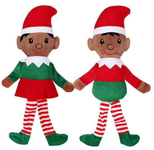 Christmas Holiday Plush Elves - African American Boy & Girl Elf Stuffed Toy Set