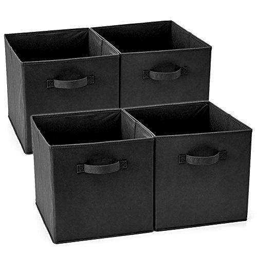 EZOWare Set de 4 Caja de Almacenaje, Cubos Organizador de Tela Plegable, Cajas de Almacenamiento para Ropa, Juguetes, Roperos, Armarios, Estanterías - 33 x 38 x 33 cm - Negro