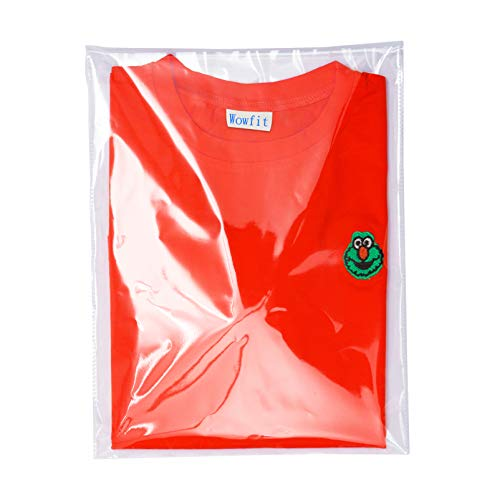 Wowfit 100 Count 10x13 inches Clear Cellophane Plastic Bags, Resealable Self-Sealing Cello Bags Great for Clothes, Shirts, Pants, Foods, Flyers, More (10 x 13 with Reinforced Sides)