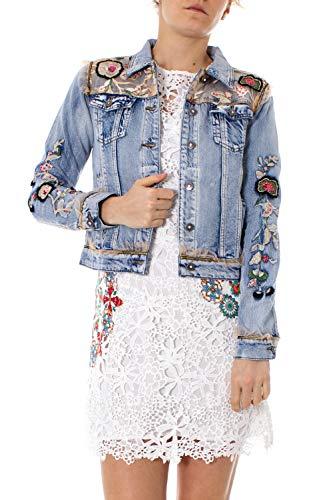 Desigual - Cazadora Flowers Mujer Color: 5007 Talla: Size 40