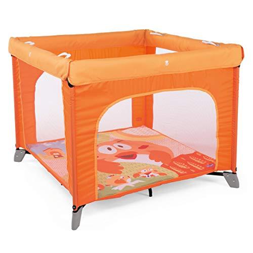 Chicco Open Box - Parque de juegos infantil bebé con alfombra extraíble y cremallera, 0-4 años, diseño gallina color naranja (Fancy Chicken)