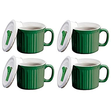 CorningWare Pop in mug, 4 mugs with vented plastic covers (Bake, Microwave) 20 oz/591ml (green)