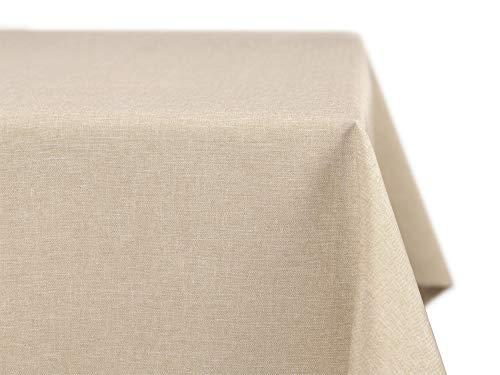 BEAUTEX fleckenabweisende und bügelfreie Tischdecke - Tischtuch mit Lotuseffekt - Tischwäsche in Leinenoptik - Größe und Farbe wählbar, Eckig 110x110 cm, Sand