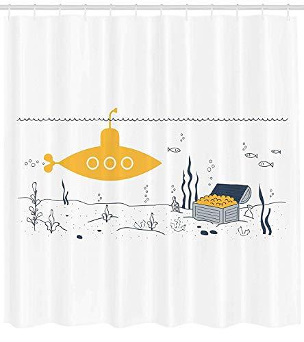 vrupi Gelbe U-Boot Duschvorhang U-Boot Fisch & Meeresboden gedruckt Schatzkiste Muster Stoff Badezimmer Dekoration Pop Stoff Duschvorhang mit 12 Haken Polyester wasserdicht 180 * 180 cm