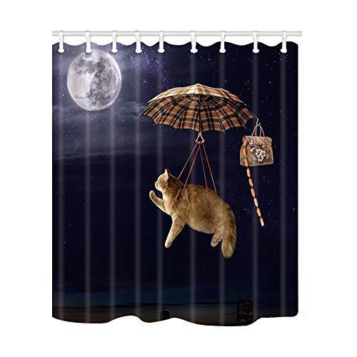 BGXTFMD Duschvorhang Einfachheit Süße Katze mit Maus Duschvorhänge Haustiere drucken Badesiebe Polyestergewebe wasserdicht & schimmelresistent mit