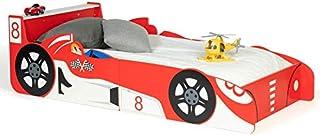 IDMarket - Lit Enfant Voiture Formule 1 Rouge Teddi 70x140cm