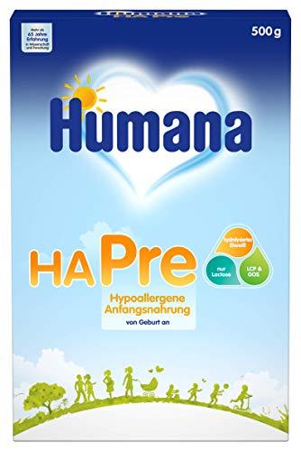Humana HA PRE, hypoallergene Anfangsnahrung für Babys mit erhöhtem Allergie-Risiko, Milchpulver als Babynahrung, von Geburt an, 500 g