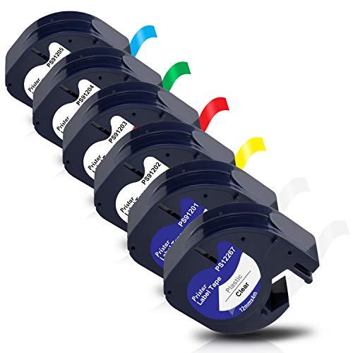 Pristar Kompatibel Schriftband als Ersatz für Dymo LetraTag 12267 91201 91202 91203 91204 91205 Kunststoff Etikettenband für Dymo LetraTag LT-100H LT-100T LT100-H LT-110T QX-50 XM XR 2000