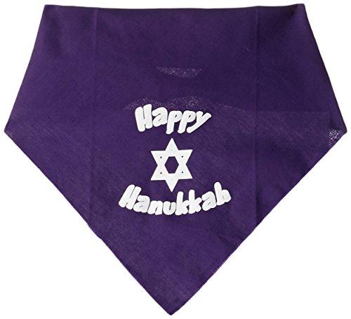 Mirage Pet Products Happy Hanukkah Screen Print Bandana for Pets, Large, Purple