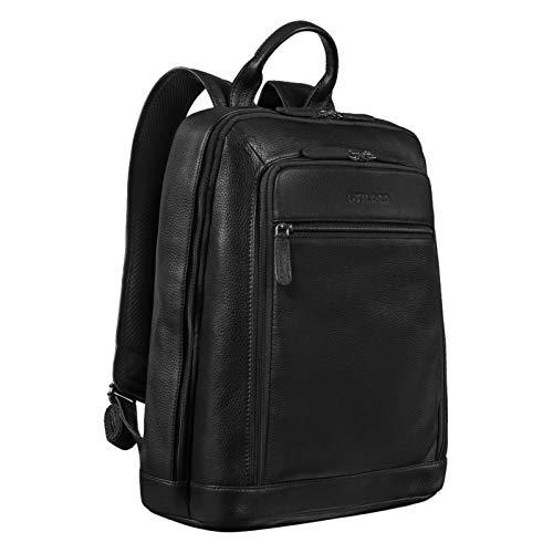STILORD 'Watson' Zaino Laptop 15,6 Pollici Pelle Backpack Business Uomo Vintage Zaini per MacBook DIN A4 Daypack per Ufficio Zainetto Grande in Vera Pelle, Colore:ossidiana nero
