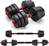 Arespark Adjustable Dumbbell Barbell, 15kg Free Weights Fitness Dumbbell Set, Detachable Barbell Combination 3 in 1 Fitness Equipment for Home Gym Fitness and Strength Training