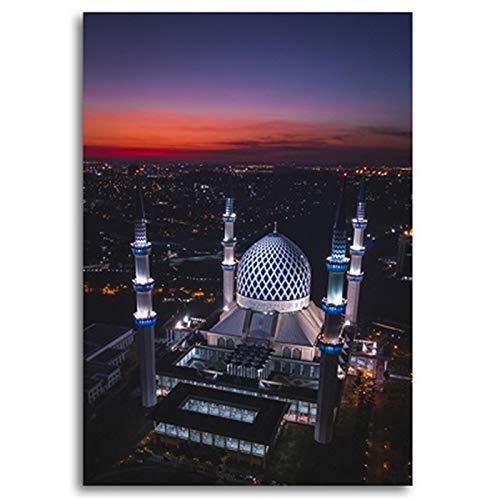 PCCASEWIND Islamische Moschee Gebäude Nachtansicht Wandplakate Und Drucke Muslimische Wandkunst Leinwandbilder Bilder Wohnzimmer Wohnkultur (40X50Cm Ohne Rahmen) Ad-2469