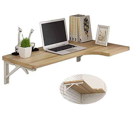 liutian Folding Table Wall-Mounted Simple Solid Wood,Floating Computer Table/dining Table/desk,with Corner,Save Space,5 color options,Size: 100X60X40Cm