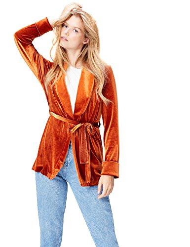 Amazon-Marke: find. Damen Taillierte Velours-Jacke, Orange, 36, Label: S