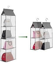منظم الخزانة من 4 أرفف غير منسوجة يمكن فصلها لتنظيم حقائب اليد من جولسكي، هو حامل أرفف معلق قابل للطي لوضع وتخزين الملابس والملحقات، متوفر بلون رمادي