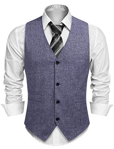 COOFANDY Anzugweste Herren Weste Anzug V-Ausschnitt Ärmellose Slim Fit Sommer Leinen Softshell Anzug Business Hochzeit Retro Elegant Blau M