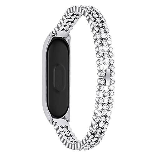 Pulsera de banda de reloj de acero inoxidable de diamantes de reemplazo para MI BAND 4 Strap (Color : C)
