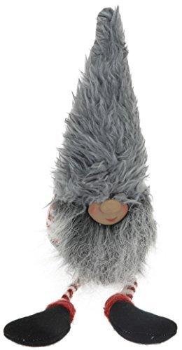 CHICCIE kanthocker domovoï 40cm - Rouge Grise Blanc Vichy Bonnet - Bord Tabouret Figurine Décorative Noël Nain - Grise Bonnet