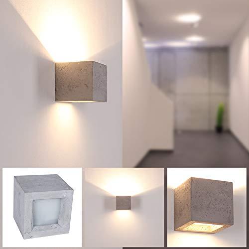 Gips-Wandleuchte LED in Beton-Optik | Betonleuchte Up & Down Light | Wandlampe CUBE 12x12cm Länge |...